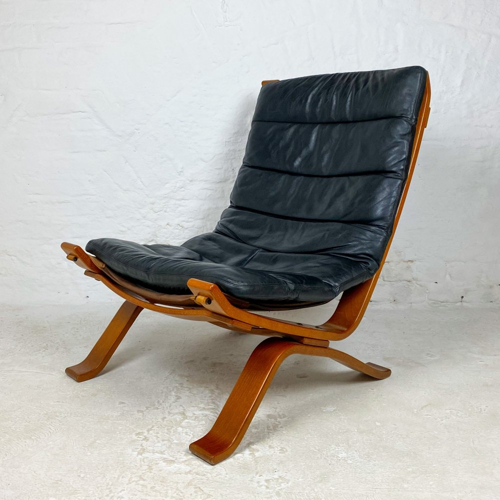 Danish Leather Lounge Chair by Bramin, 1960s
