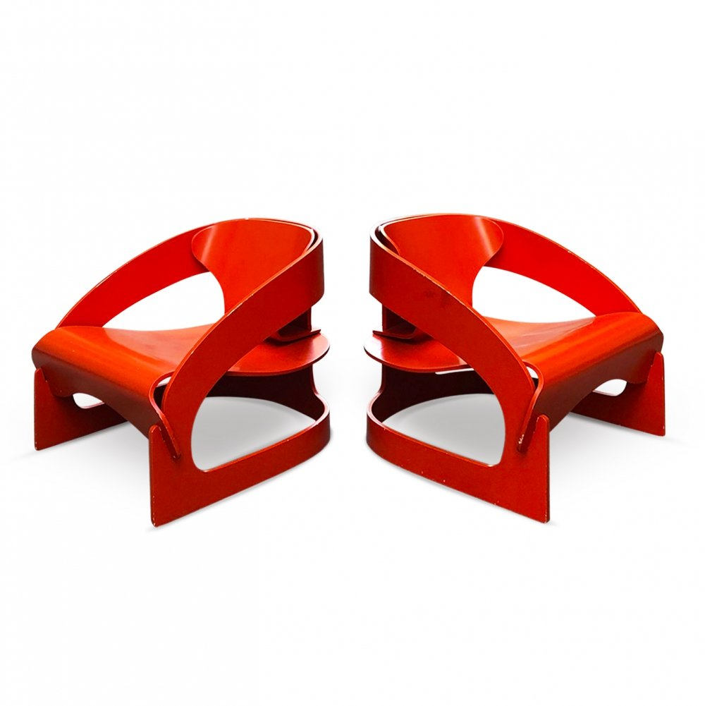 Pair of iconic 4801 armchairs by Joe Colombo for Kartell, 1963