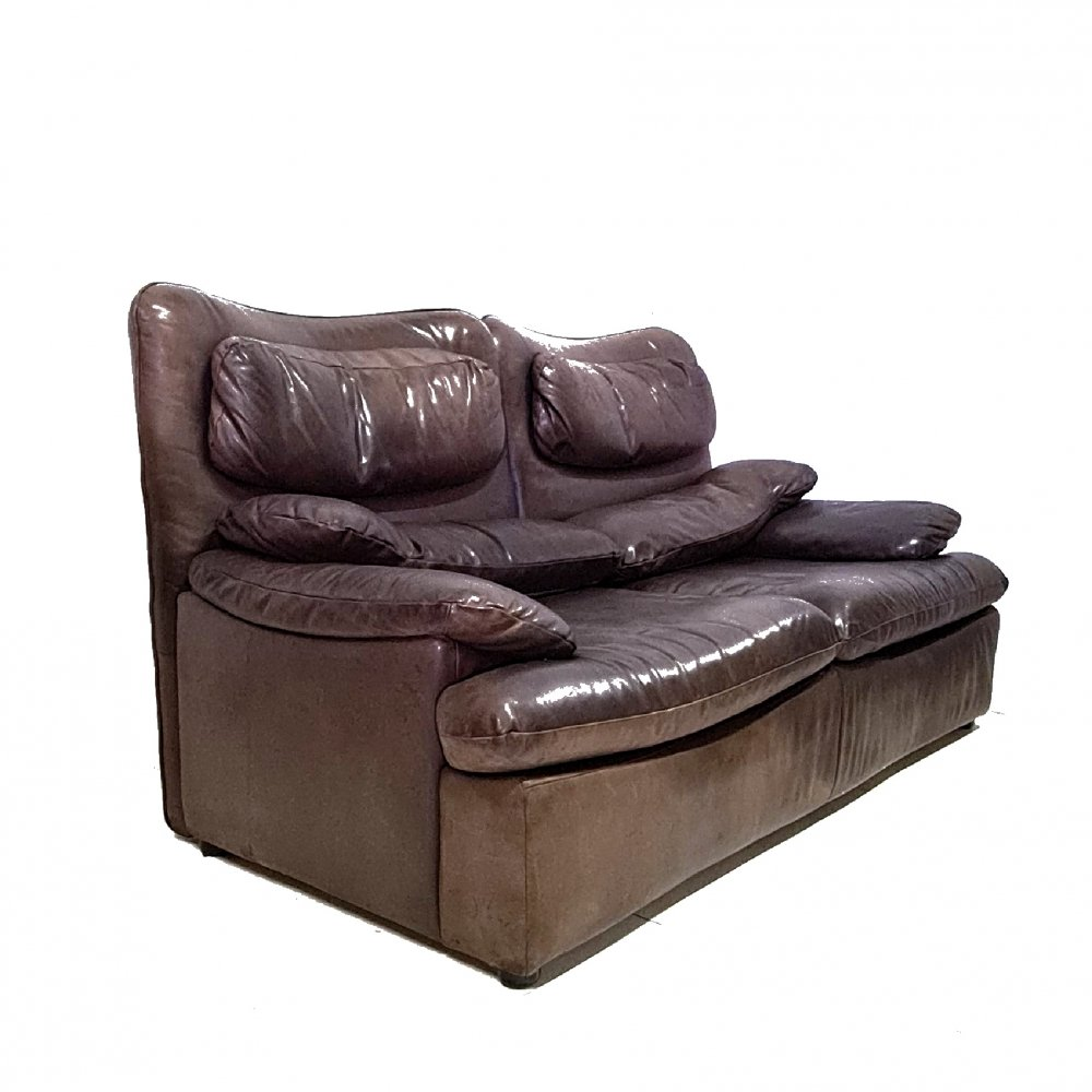 Patinated leather 2 seater sofa, 1970s