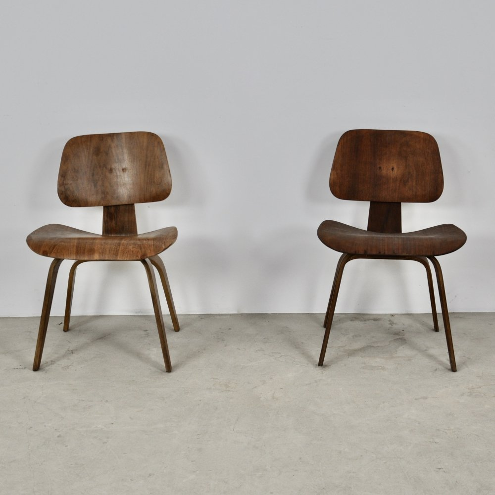 Pair of Plywood DCW Chairs by Charles & Ray Eames for Evans, 1950s