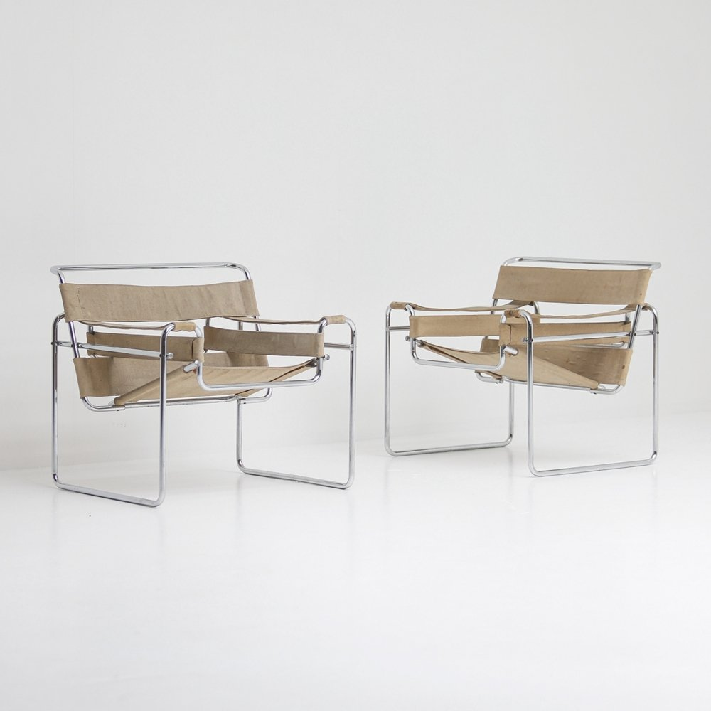 Pair of Wassily arm chairs by Marcel Breuer for Gavina, 1960s