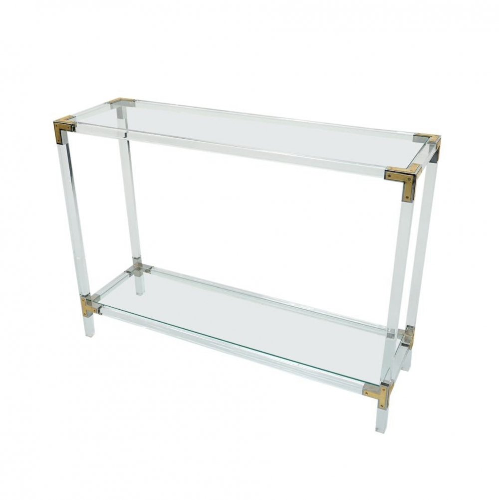 Console Table in Lucite, Nickel, Brass & Glass, 1970s