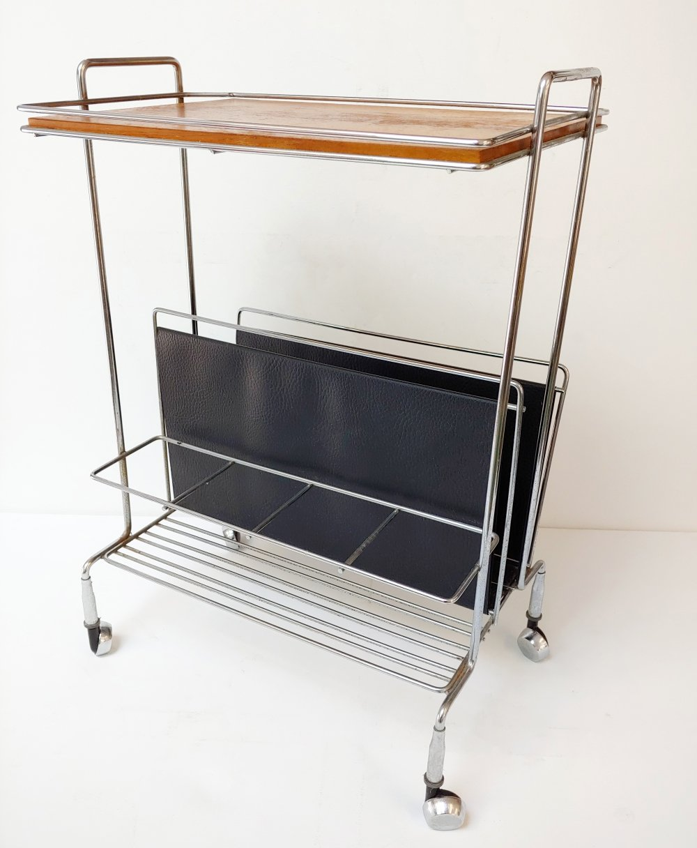 Mid-Century Modern Mobile Side Table with Wine Rack & Books Holder