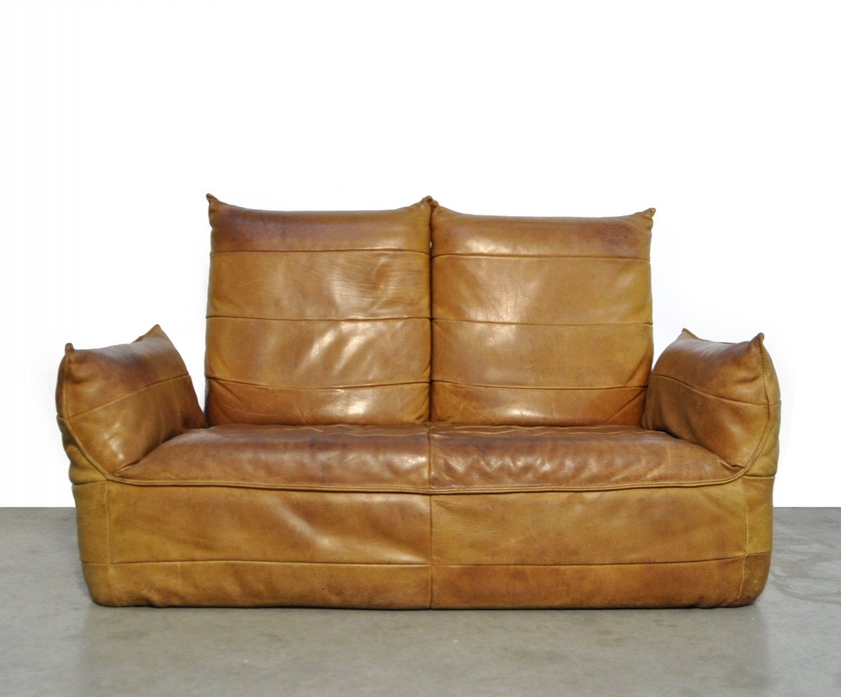 Patchwork leather 2-seater sofa by Gerard van den berg for Montis, 1970s