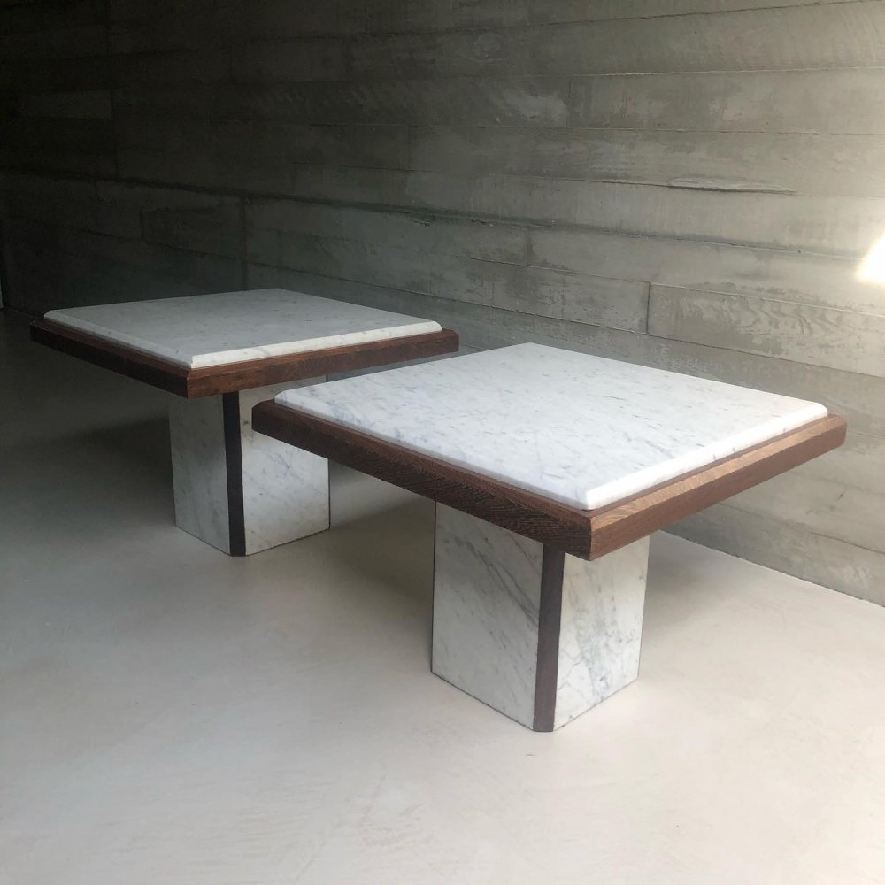 Set of two marble & wood coffee tables, 1970s