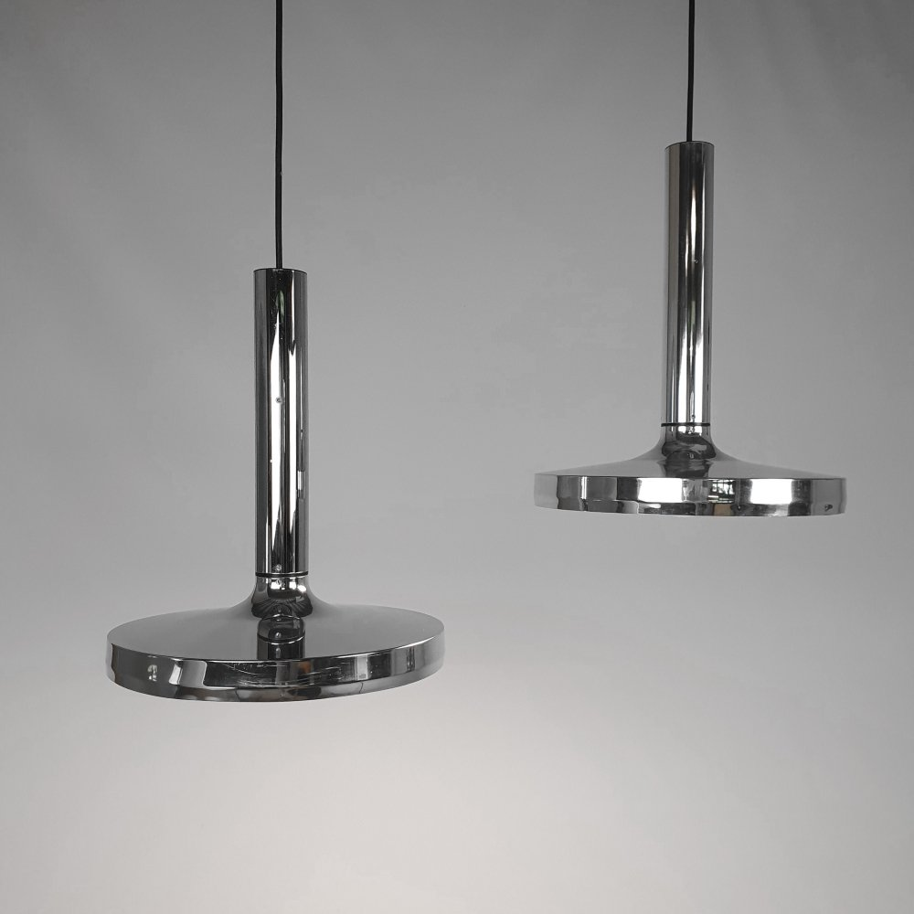 Set of 2 Erco Chrome Plated Pendants, 1970s
