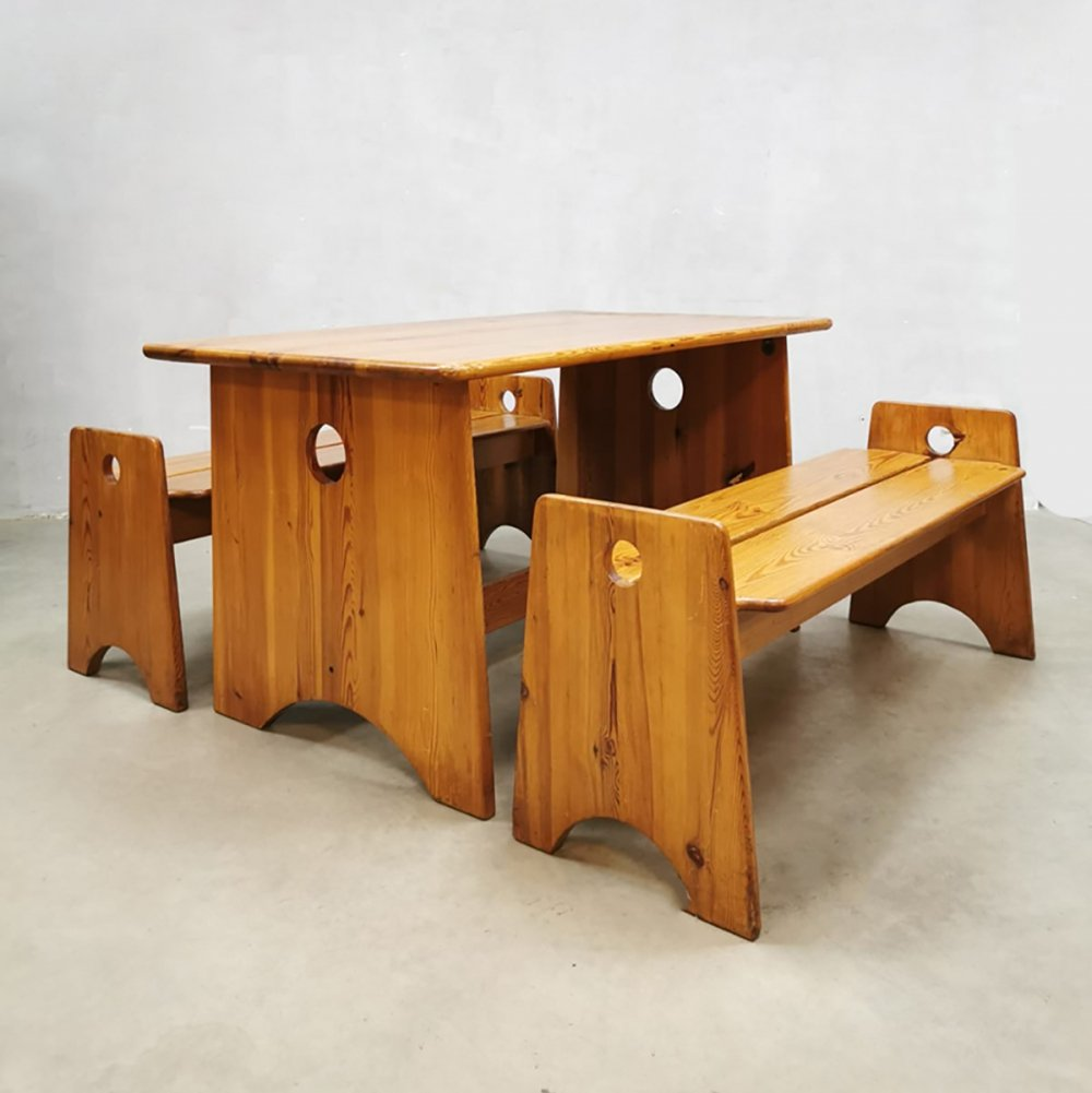 Midcentury Swedish pine wood benches & table by Gilbert Marklund