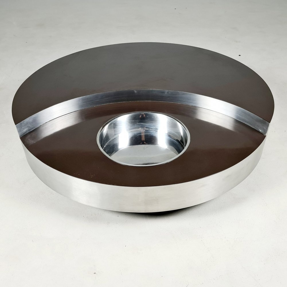 TRG revolving coffee table designed by Willy Rizzo, 1970s