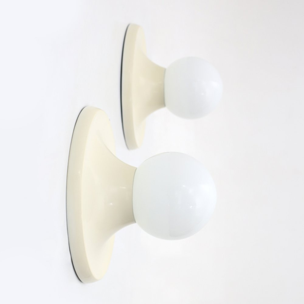 """Pair of """"light ball"""" wall lamps by Achille Castiglioni for Flos, 1960"""