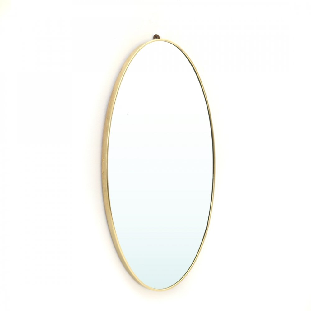 Oval mirror with brass frame, 1950