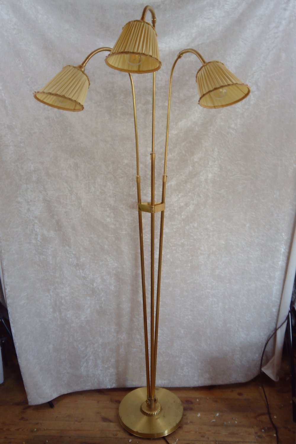 Large Swedish brass floor lamp with three points of light, 1940