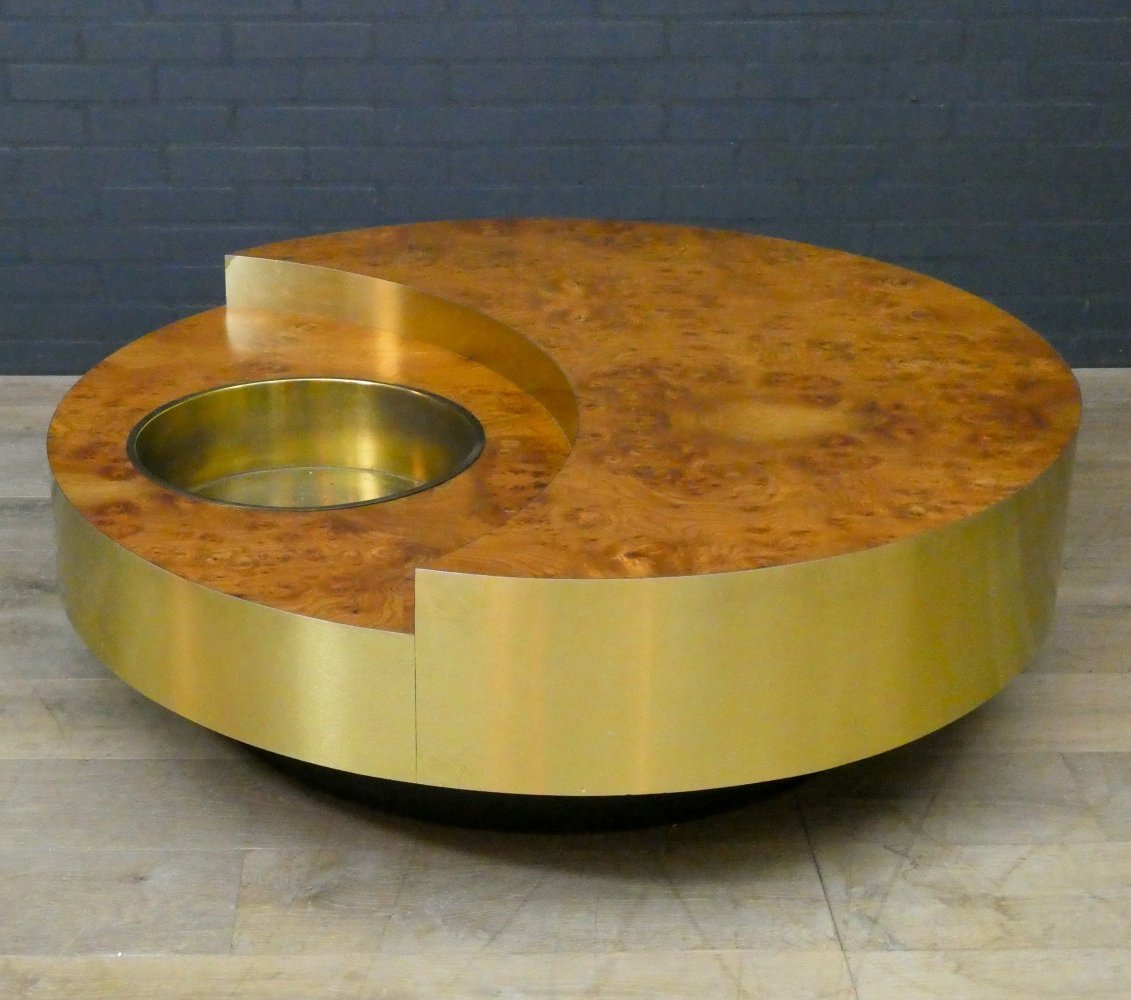 Original Vintage Willy Rizzo TRG Revolving Coffee Table in burl, Italy 1970