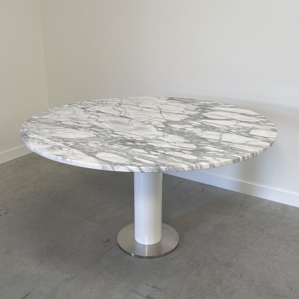 Vintage design round marble dining table, 1980s