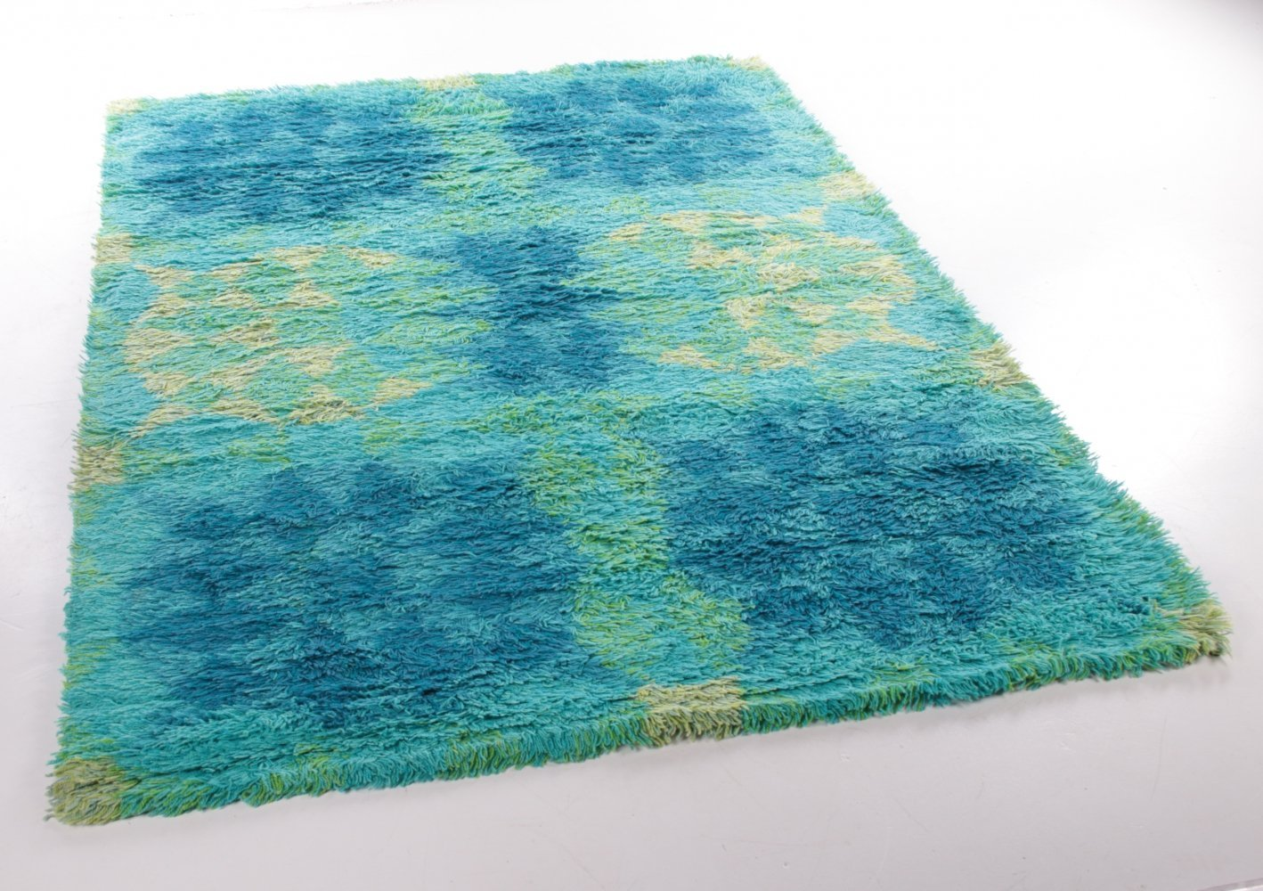 Retro Vintage Wool Hand-Knotted Rug, Sweden 1960s/70s