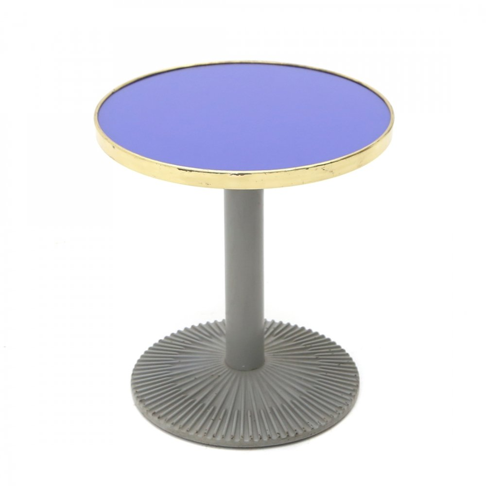 Coffee table with blue glass & brass top, 1980