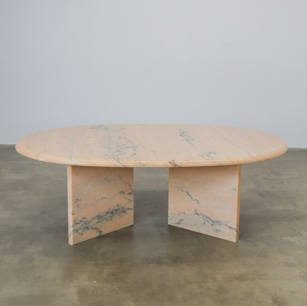 Pink marble coffee table, 1980s