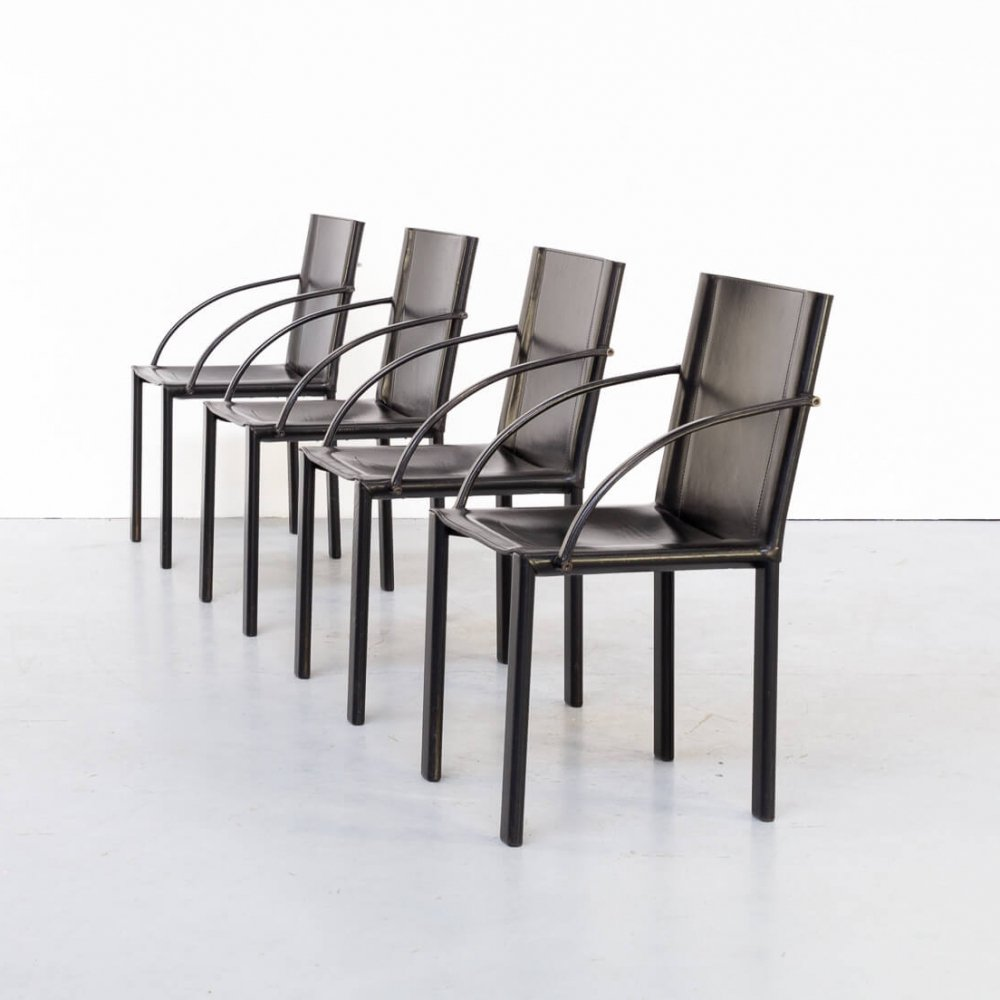 Set of 4 Carlo Bartoli black leather dining chairs for Matteo Grassi, 1970s