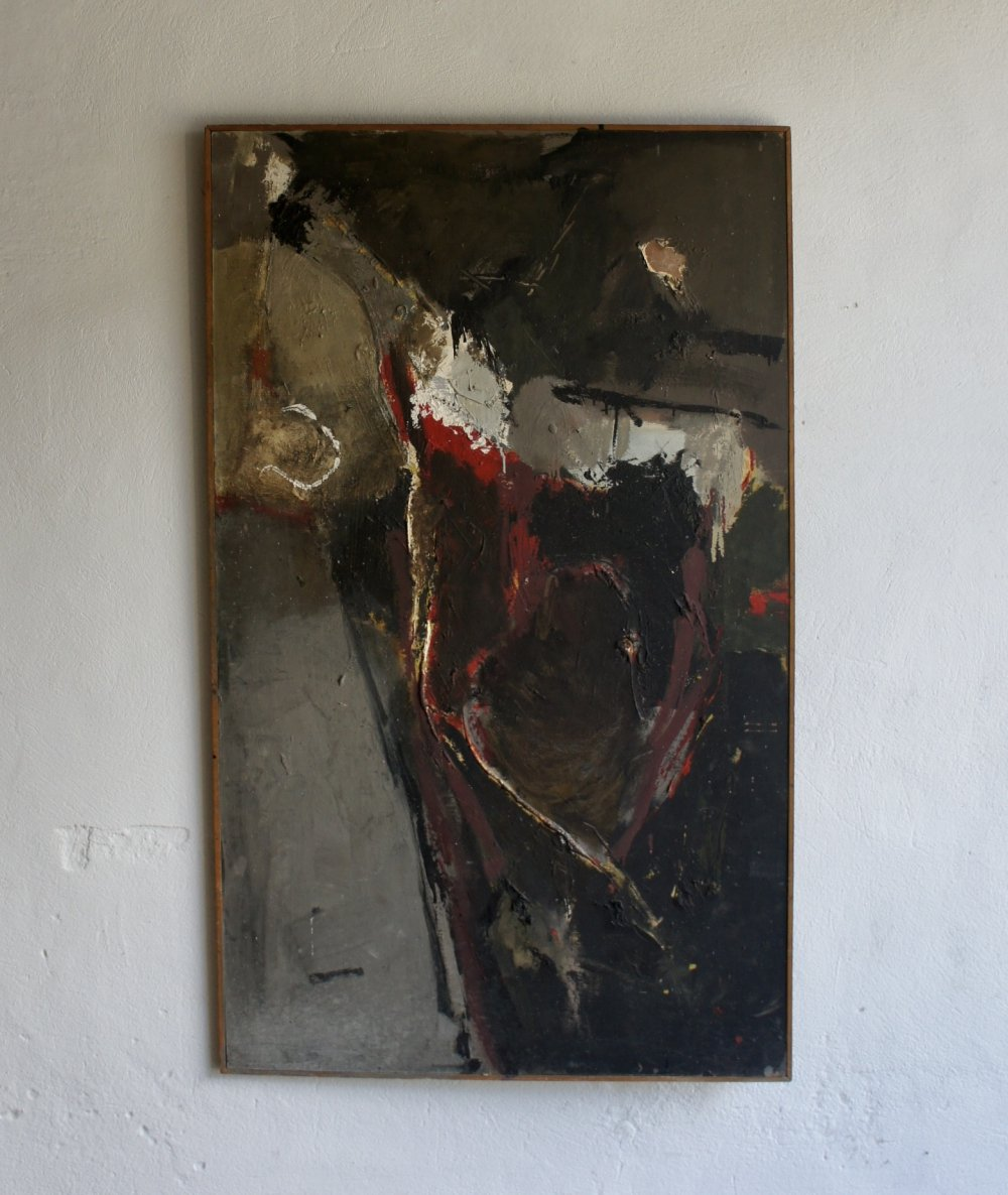 Abstract Oil On Board by Gerald Moore, 1960s