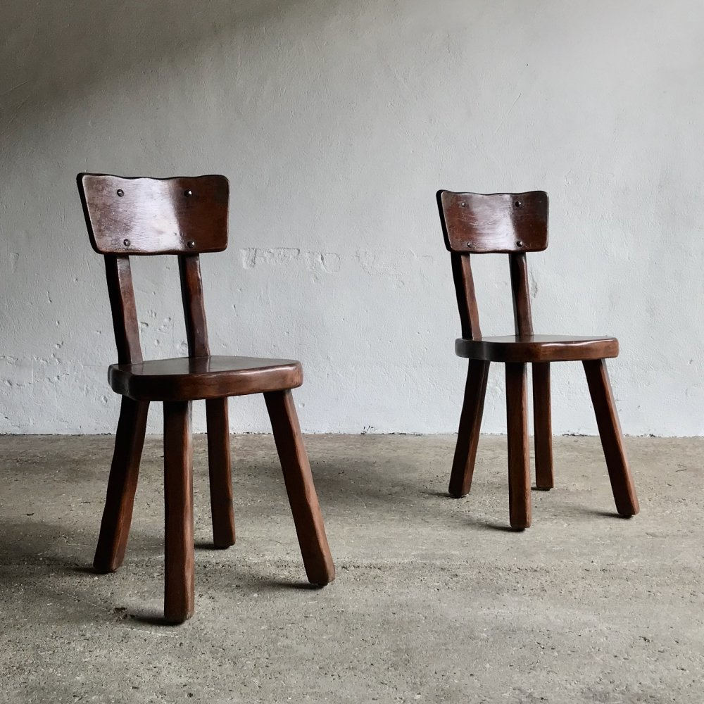Pair of Brutalist Chairs, 1970s