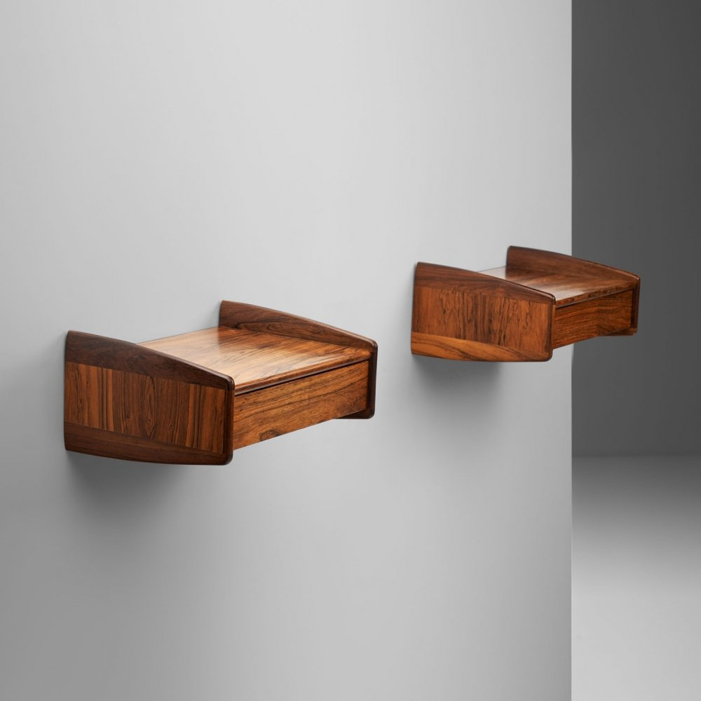 Danish Cabinetmaker Wall Mounted Rosewood Tables, Denmark 1960s