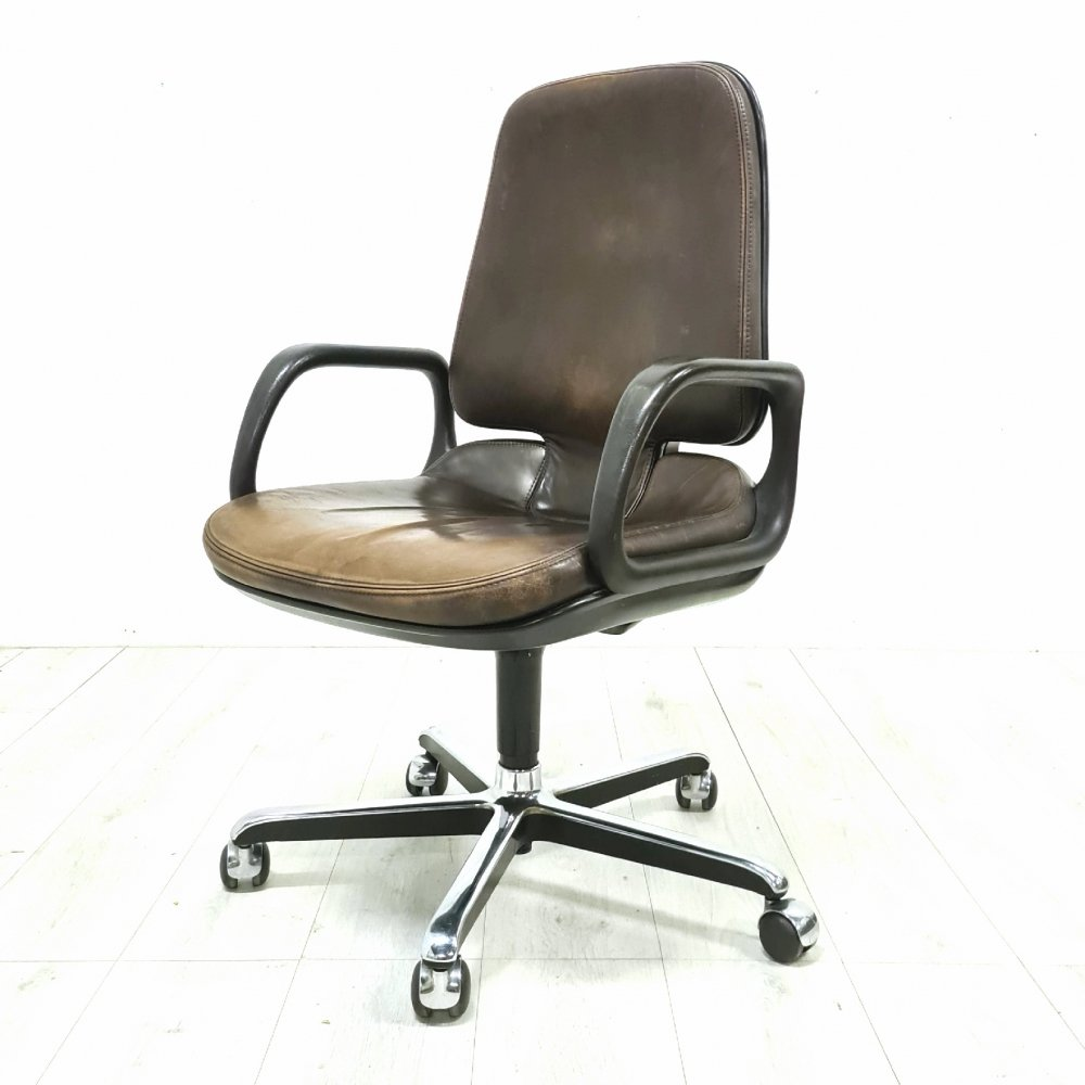 Tan leather Vitramat desk chair by Vitra, Germany 1970s