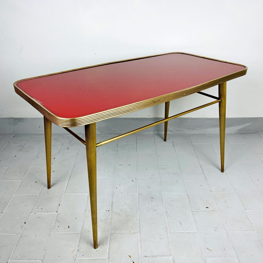 Vintage coffee table in Brass & Glass, Italy 1950s