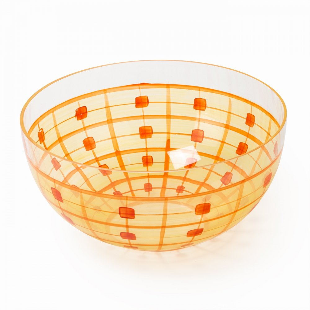 Painted glass bowl, 1940s