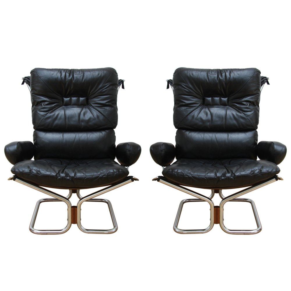 Pair of Black Leather & Chrome chairs by Ingmar Relling, 1970s