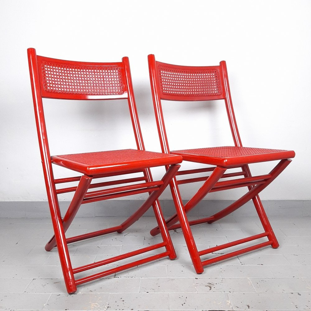 Retro red folding chair with rattan seat, Italy 70s