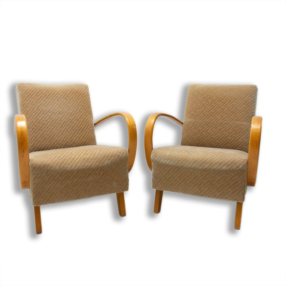 Pair of Bentwood armchairs by Jindřich Halabala for UP Závody, 1950s