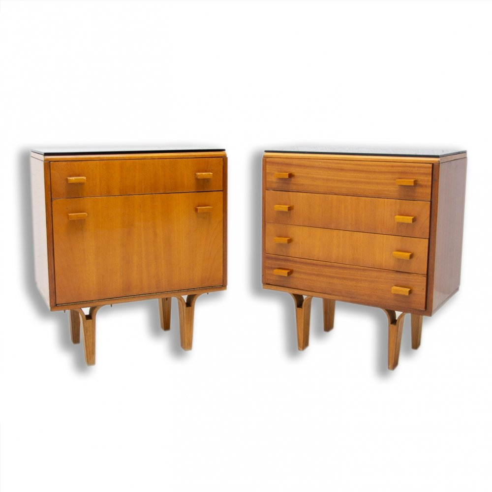 Pair of Mid century night stands / chest of drawers by Frantisek Mezulanik, 1970s