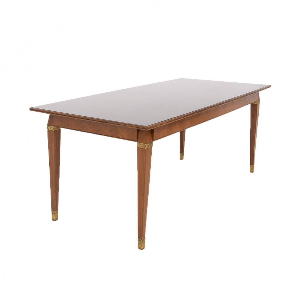Italian Dining Table by Paolo Buffa in Wood, Brass & Smoked Glass