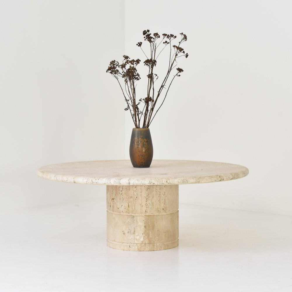 Travertine coffee table by Angelo Mangiarotti for Up & Up, Italy 1970