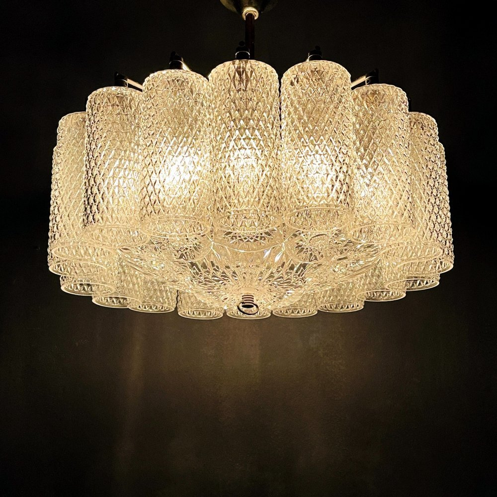 Vintage glass chandelier, Italy 1960s