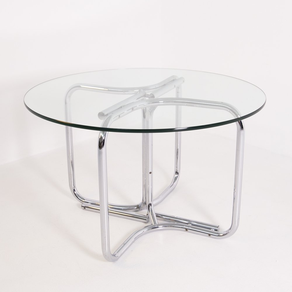 Round table in steel & glass by Giotto Stoppino