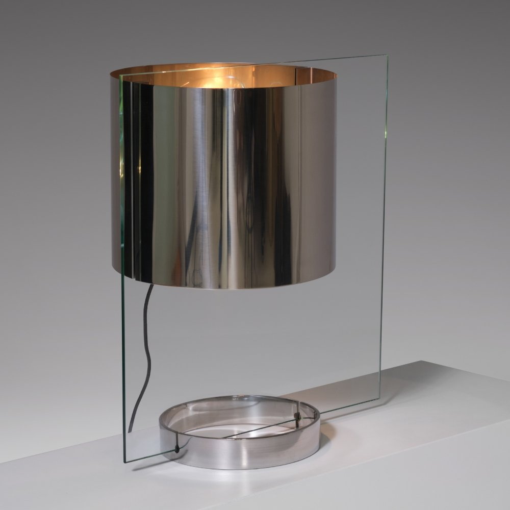 Glass & Chrome Table Lamp by Lumenform, Italy 1970