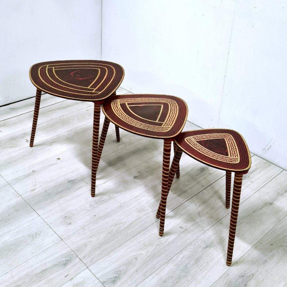 Hand painted mid century nesting tables, Peru 1960s