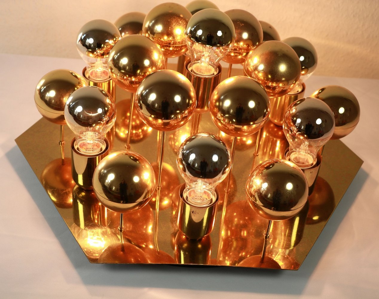 Rare Golden balls wall or ceiling Sputnik lamp by Cosack, 1970s