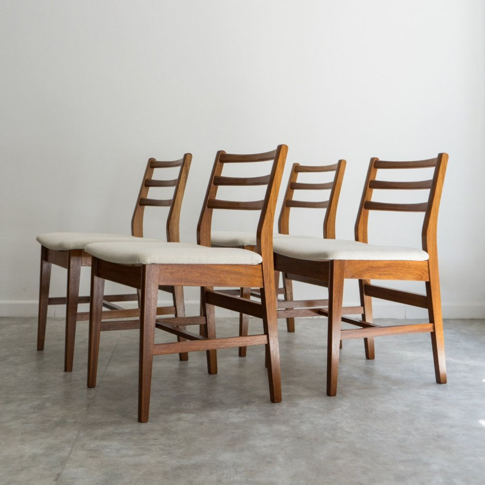 Set of 4 Teak Mid Century chairs by A. Younger, UK 1960