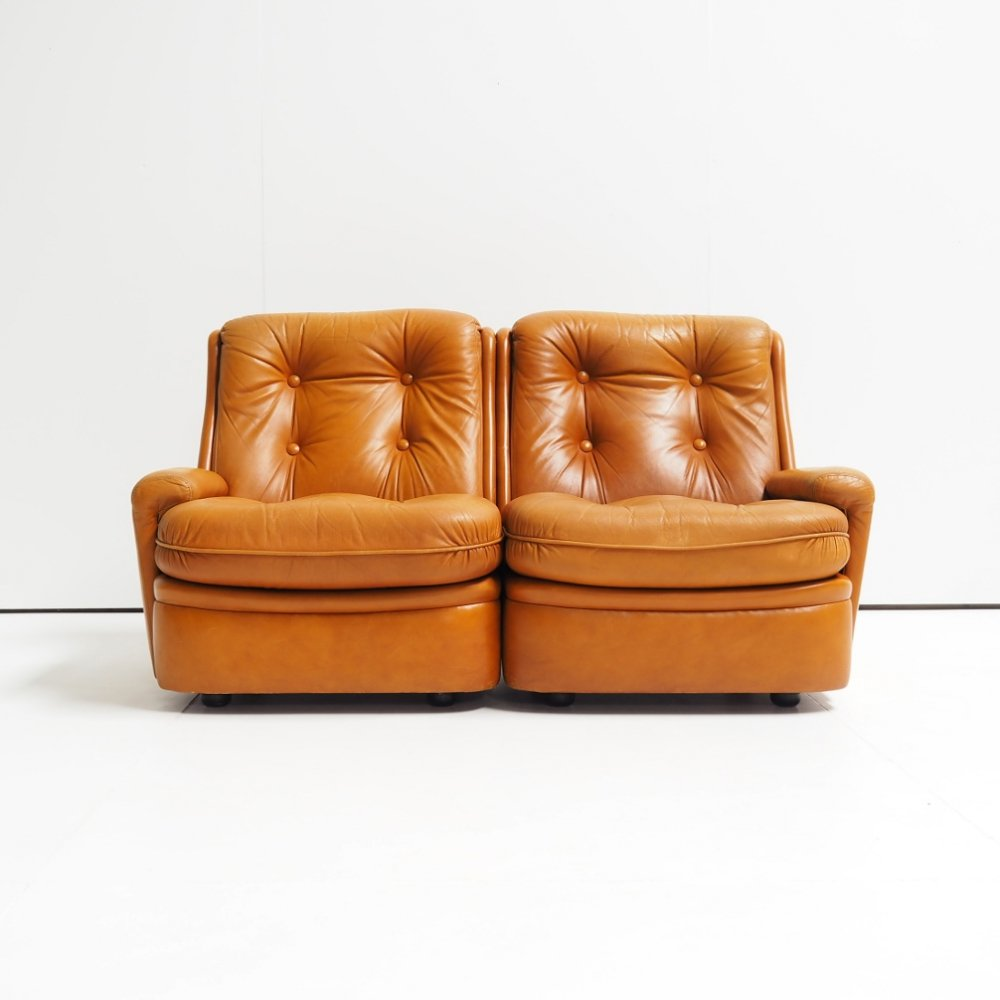 1970s leather two-seater designed by Michel Cadestin for Airborne