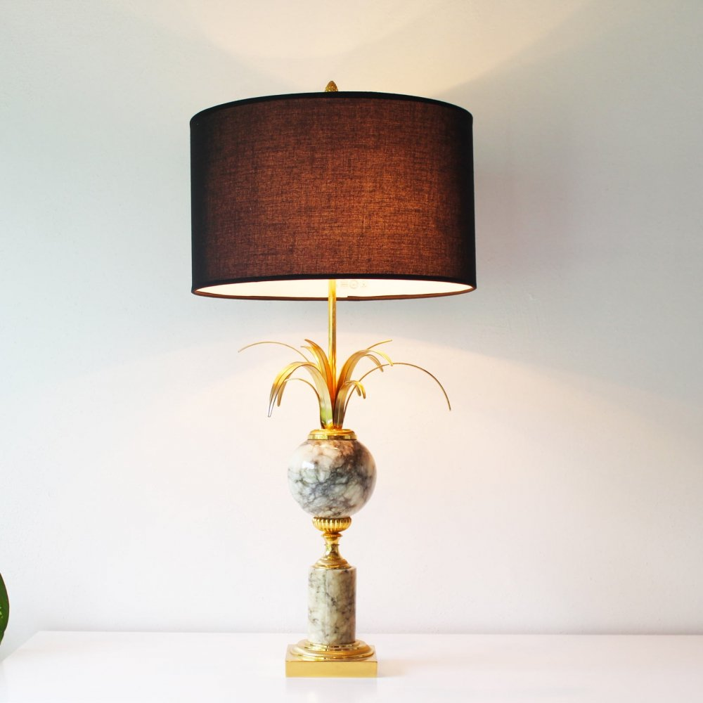 Marble & Brass Palm Leaf Table Lamp by SA Boulanger