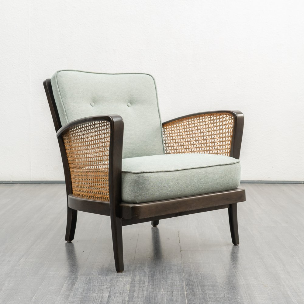 Vintage 1950s armchair with wicker