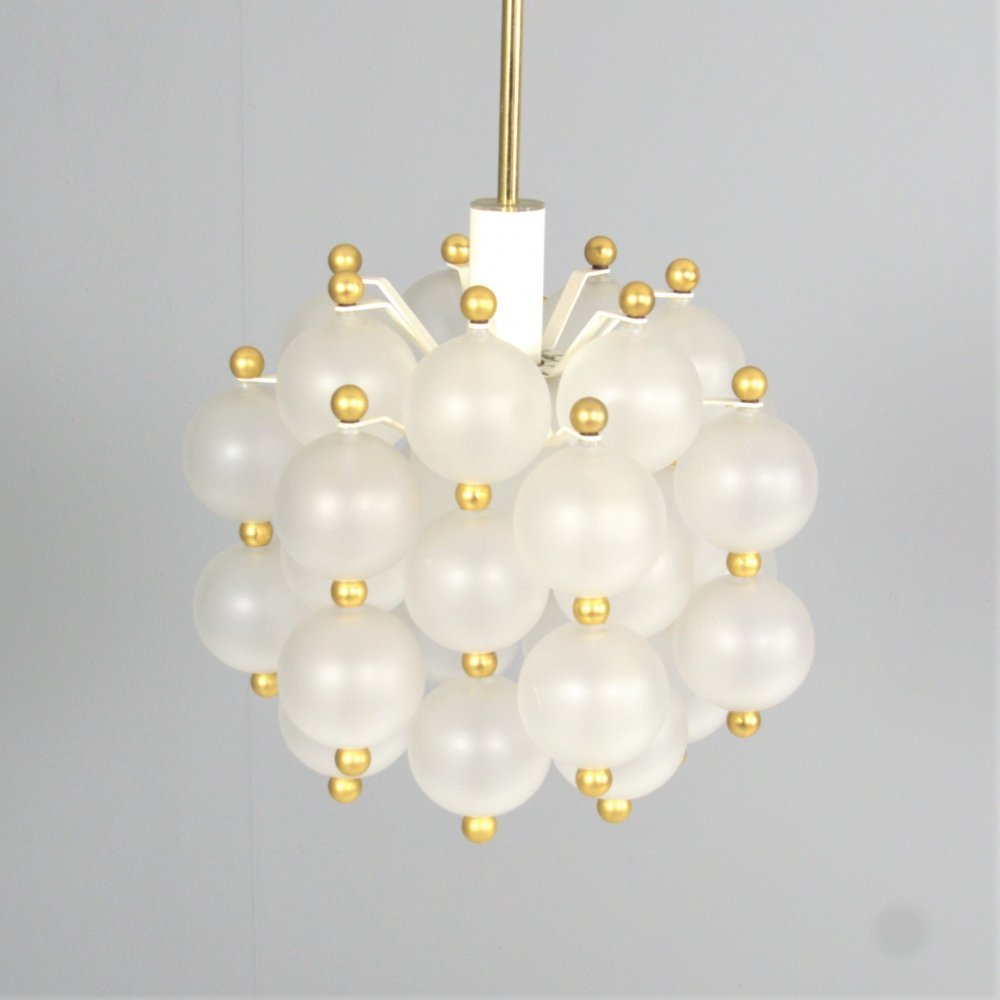 Frosted Glass & Brass Chandelier from
