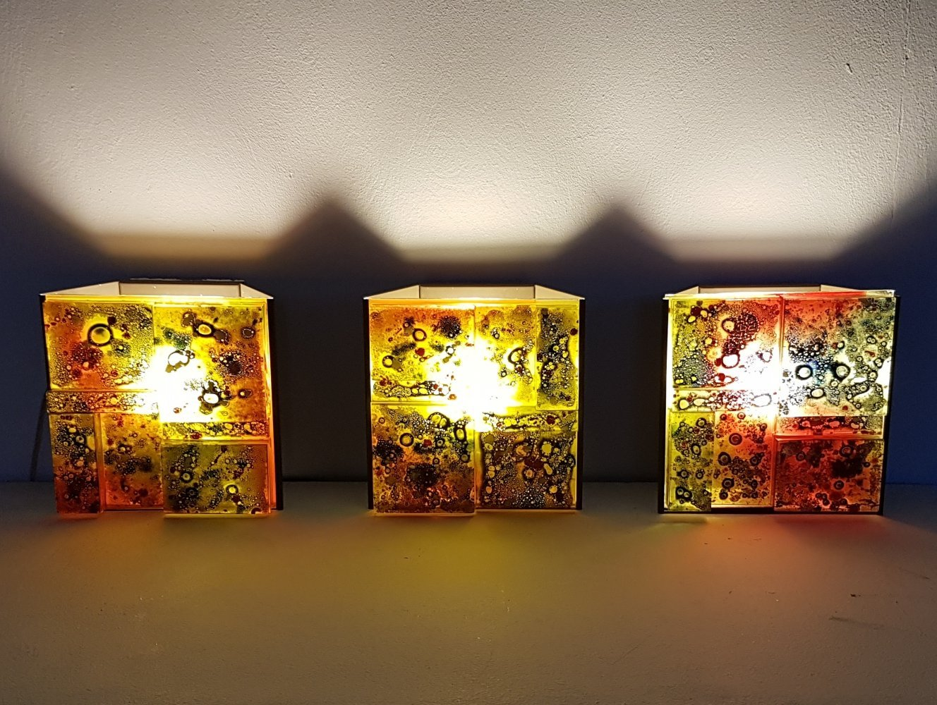 3 x coloured glass wall sconces lamps by Willem van Oyen for Raak, 1960s
