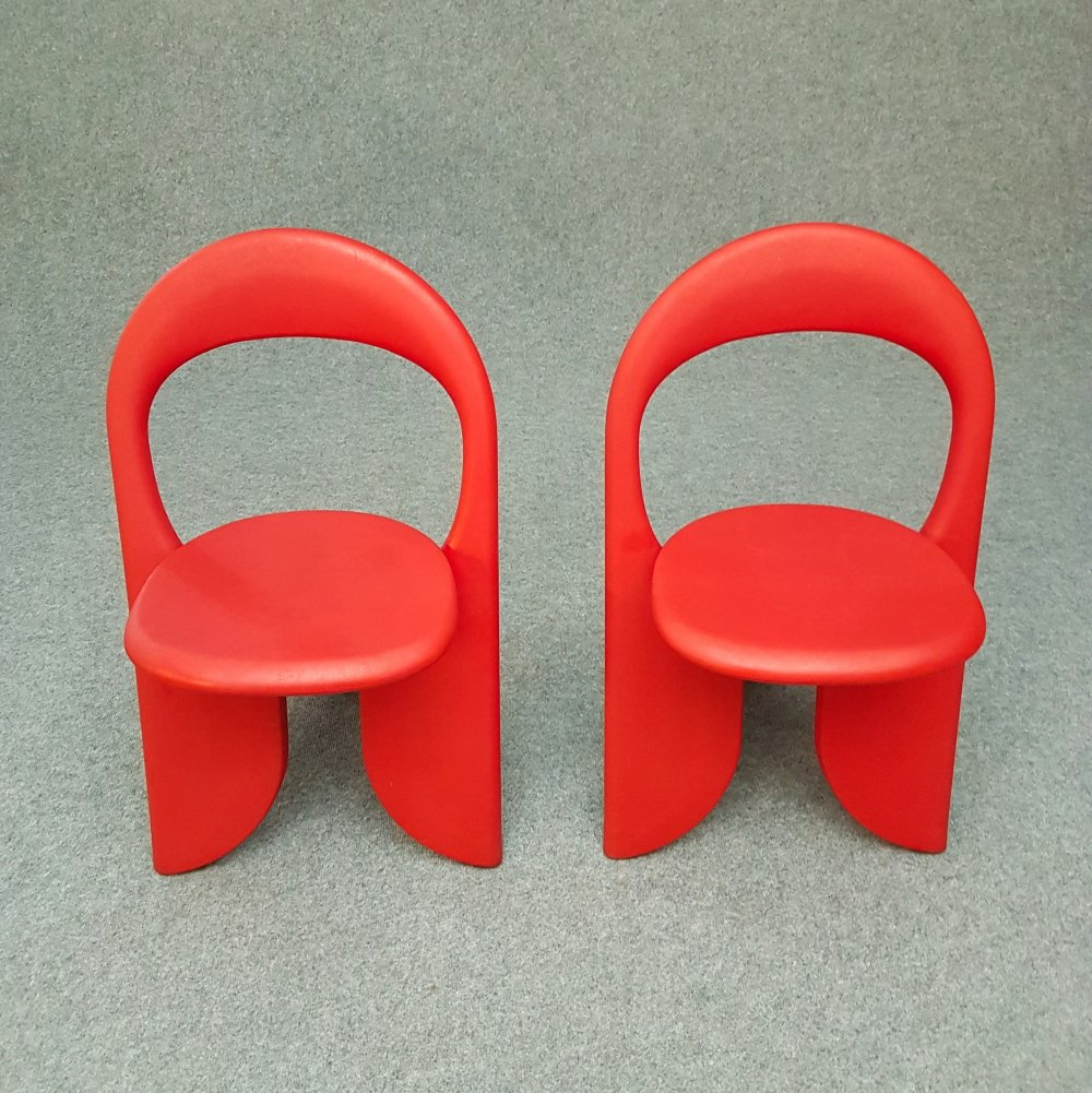 Set 2 vintage red folding chairs Filly by Giorgio Gurioli, 1980s