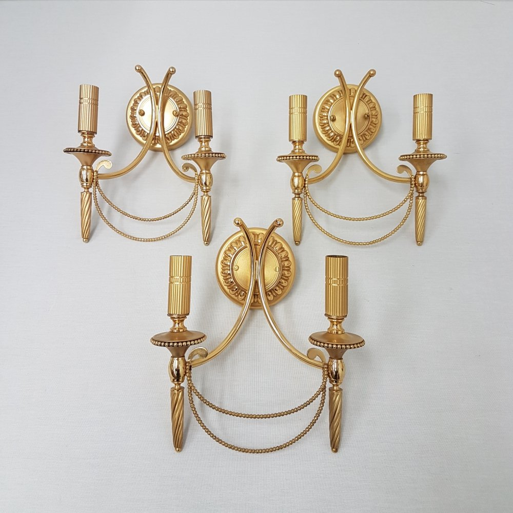 Set of 3 vintage Sciolari wall lights in gold plated brass, Italy 1960s