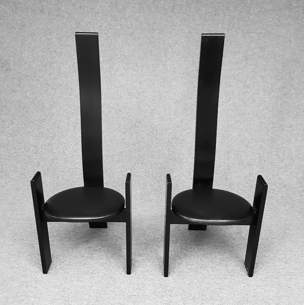 Set 2 high back black dining chairs Golem by Vico Magistretti for Poggi, 1960s
