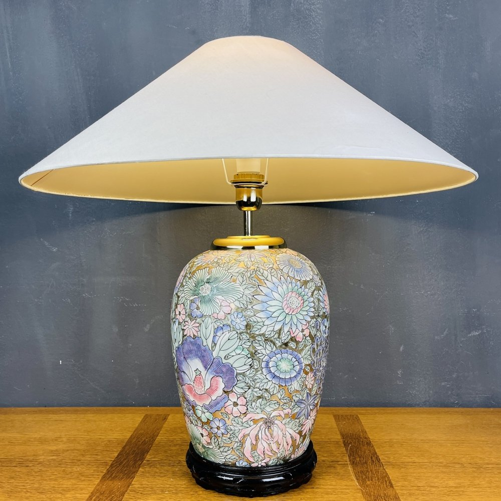 Vintage large ceramic table lamp with Flower motive, Italy 1970s