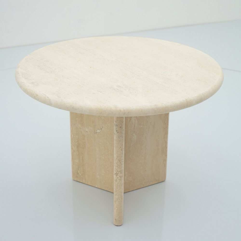 Circular Travertine Side or Small Coffee Table, Italy 1970s