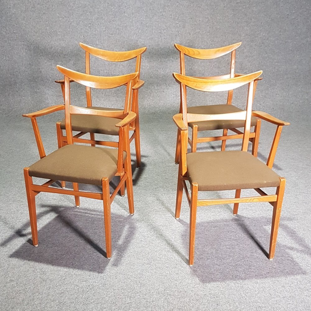 Set of 4 Dutch wooden dining armchairs, 1950s